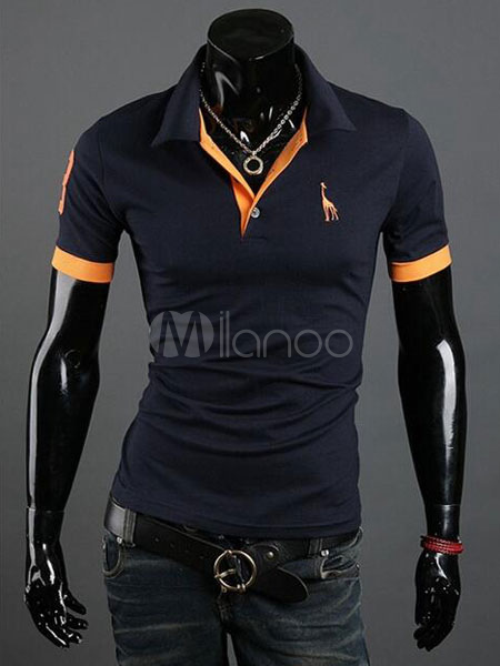 Men Polo Shirt Embroidery Color Block Cotton Tee Top Short Sleeve Casual T Shirt