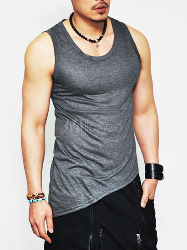 Men Cotton Tank Plus Size Regular Fit Sleeveless Casual Top