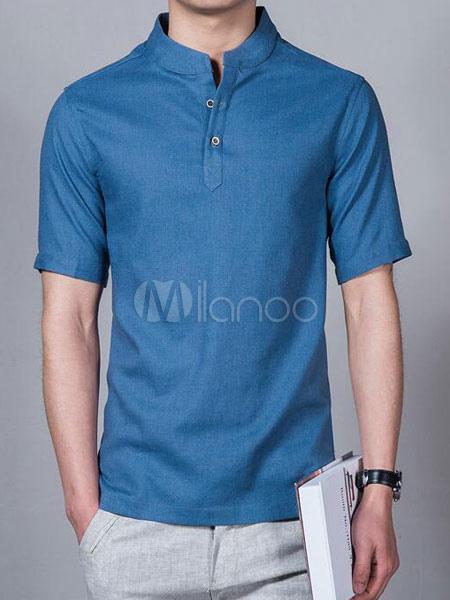 Men Summer Top Plus Size Relaxed Fit Short Sleeve T Shirt Stand Collar Cotton Linen T Shirt