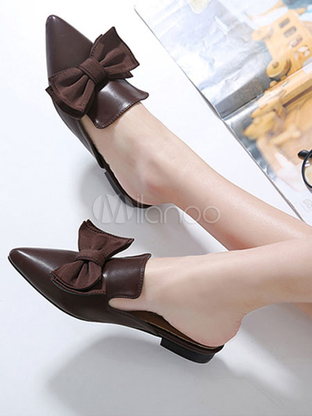 c9b37792f ... Black Mule Loafers Women Shoes Pointed Toe Bow Backless Mules-No.4