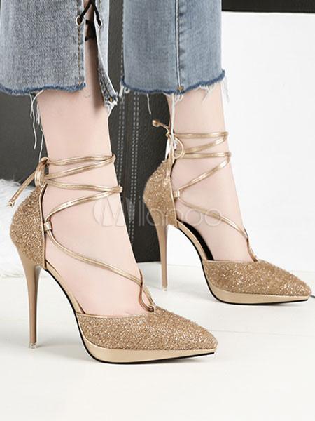 87299f2a02529 أحذية نسائية عالية الكعب بريق حفلة موسيقية واشار تو الرباط حتى أحذية السهرة -No.