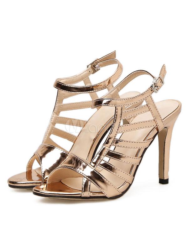078e01089d45d4 Women Gold Sandals High Heel Sandals Open Toe Cut Out Strappy Sandal Shoes- No.