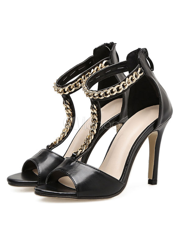 Buy High Heel Sandals Black Open Toe Metal Detail T Type Ankle Strap Sandal Shoes Women Shoes for $38.24 in Milanoo store