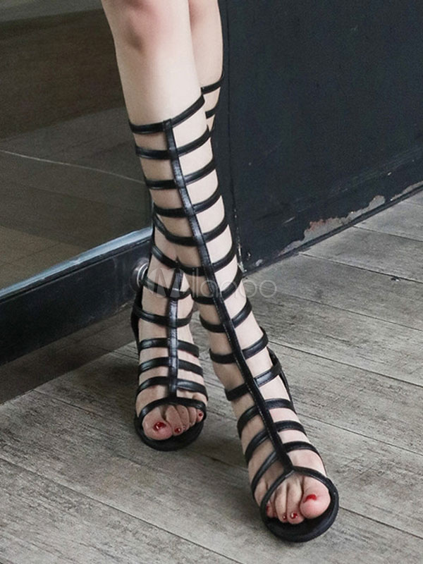 614628d5ce7 Black Gladiator Sandals Chunky Heel Women Open Toe Cut Out Strappy Sandal  Shoes