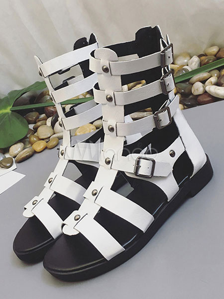 White Gladiator Sandals Women Open Toe Buckle Detail Strappy Sandals