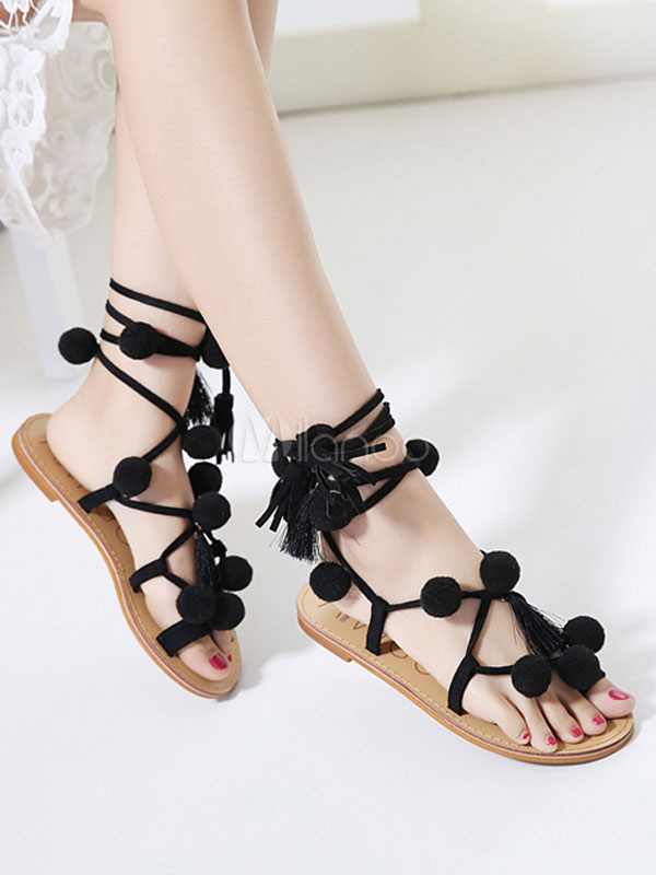 5e9419957fc ... Boho Flat Sandals Women Gladiator Sandals Toe Loop Lace Up Sandal Shoes  With Pom Poms- ...