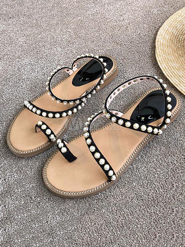 Women Flat Sandals Black Toe Loop Pearls Strappy Sandal Shoes Beach Sandals