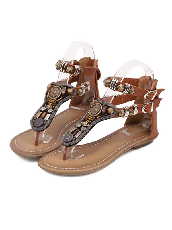 b7fc5299eebd Boho Flat Sandals Women Shoes Brown Thong Metal Detail T Type Ankle Strap  Sandal Shoes- ...