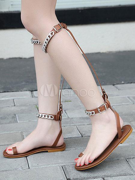 Women Flat Sandals Brown Gladiator Sandals Open Toe Metal Detail Detachable Sandal Shoes