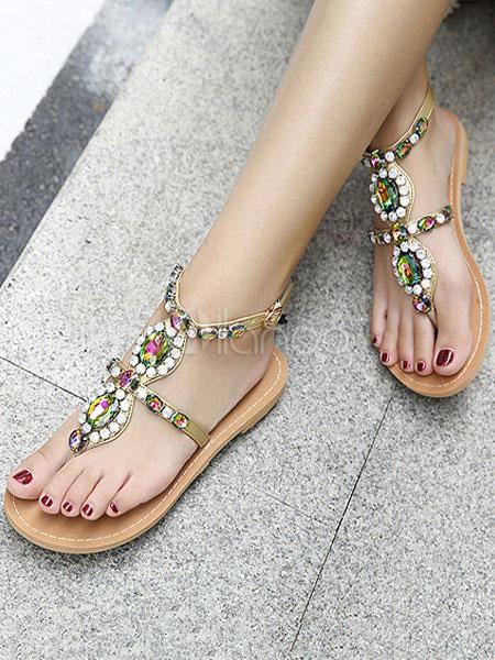 Buy Women Flat Sandals Boho Flip Flops Khaki Rhinestones Ankle Strap Sandal Shoes for $39.59 in Milanoo store