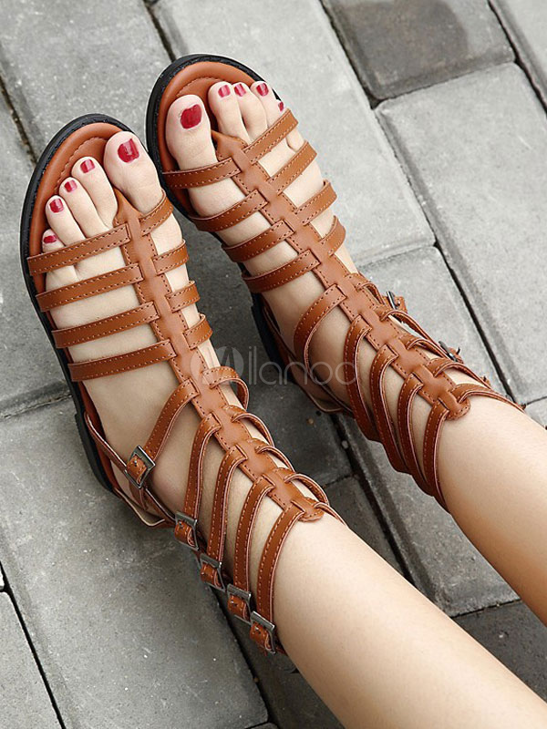 6198bc167f4cd ... Women Gladiator Sandals Black Flat Sandals Thong Buckle Detail Strappy  Sandal Shoes-No.2 ...