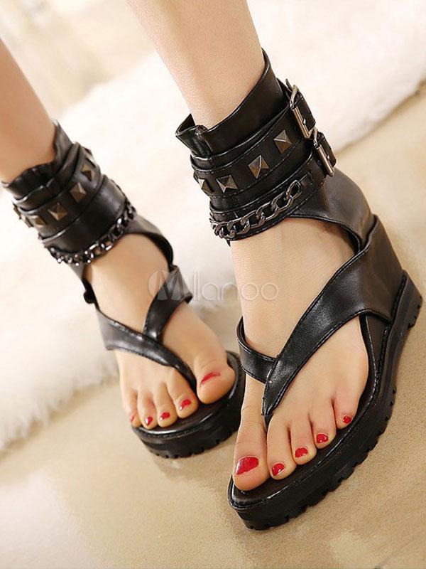 Black Flat Sandals Women Thong Rivets Detail Ankle Strap Wedge Sandals