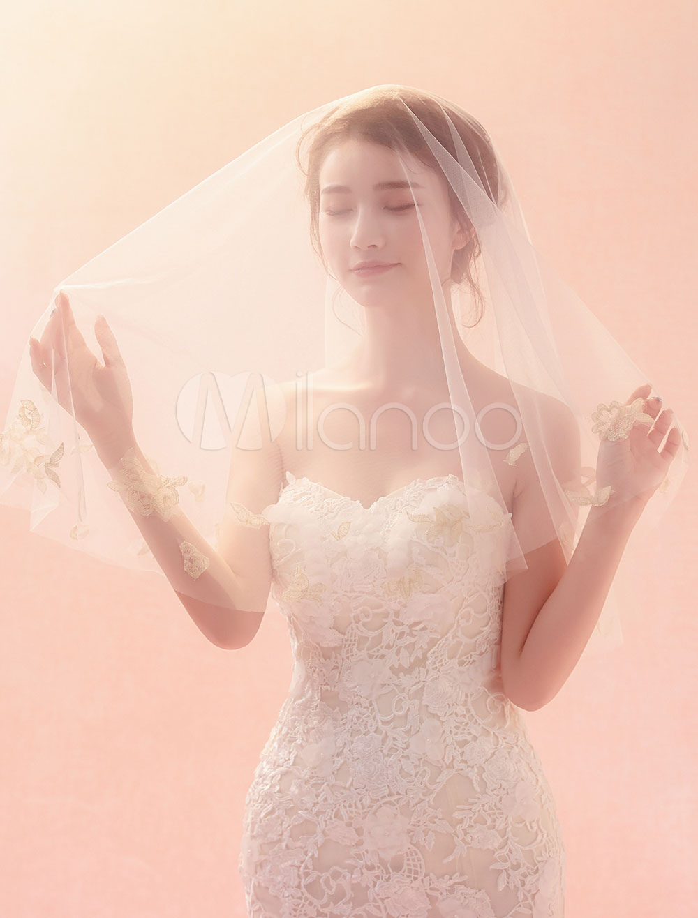Wedding Veil Ivory Lace Tulle One Tier Bridal Veils