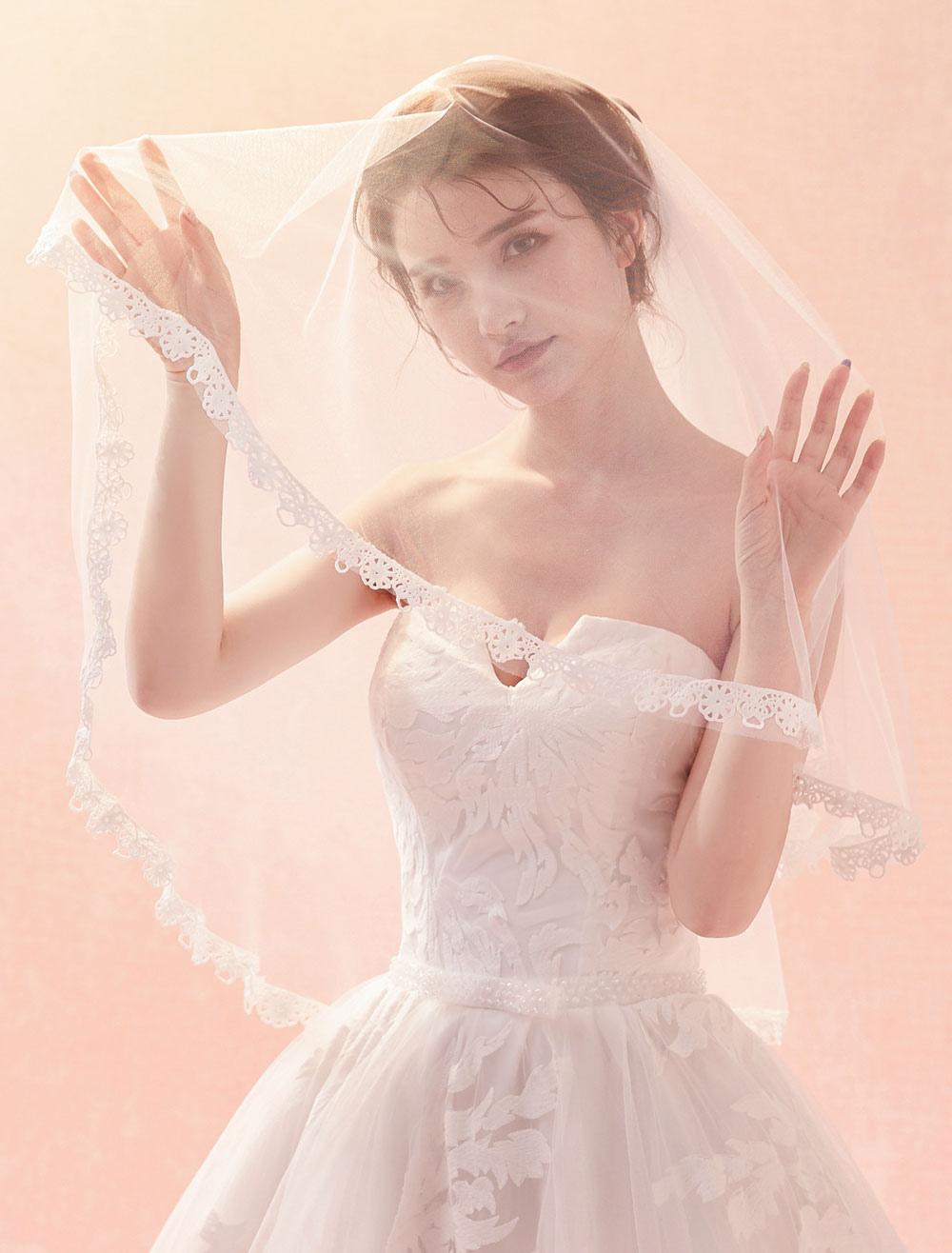Wedding Veil Ivory Lace Applique Edge One Tier Bridal Veil