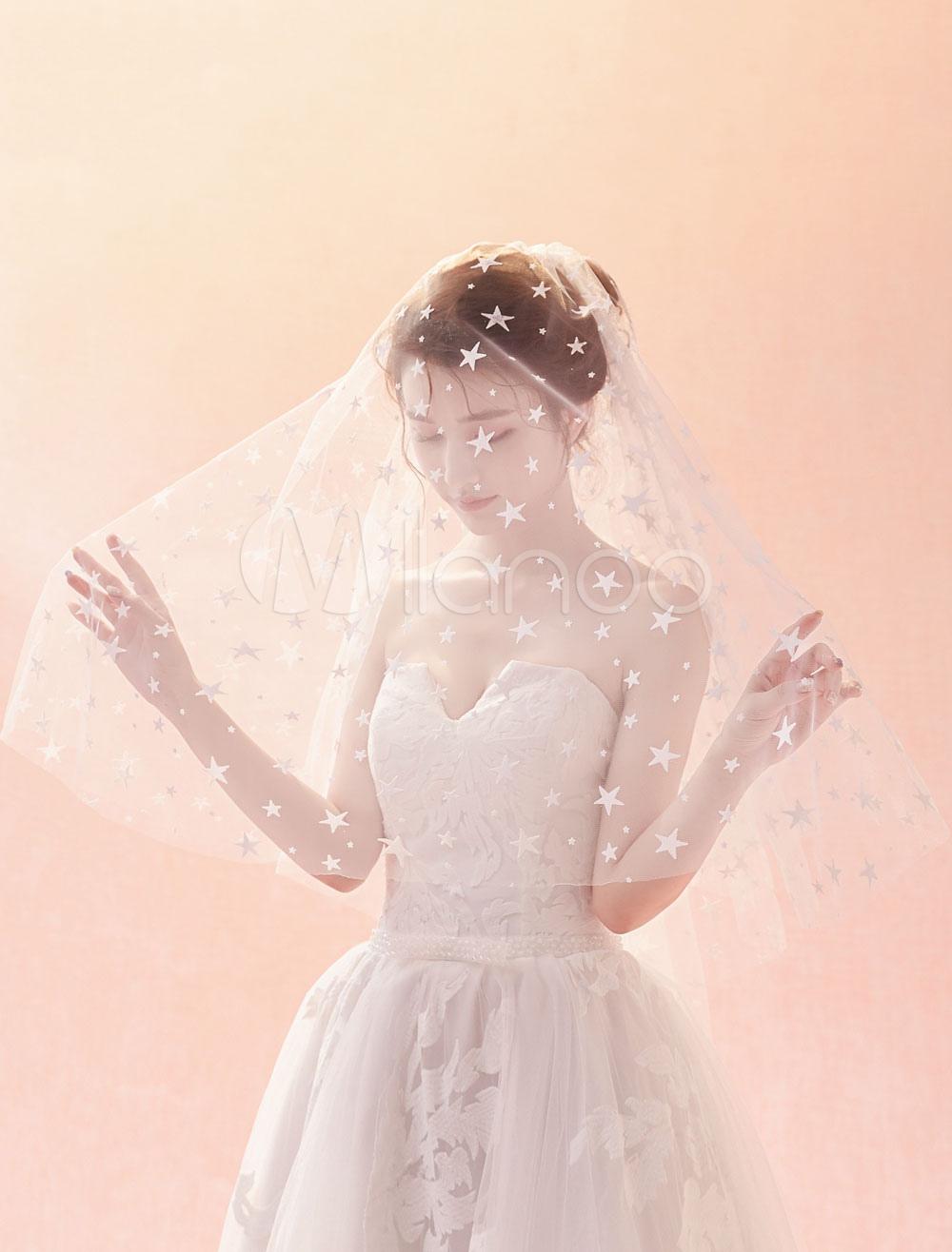 Wedding Veil Ivory Stars Cut Edge Oval One Tier Bridal Veils
