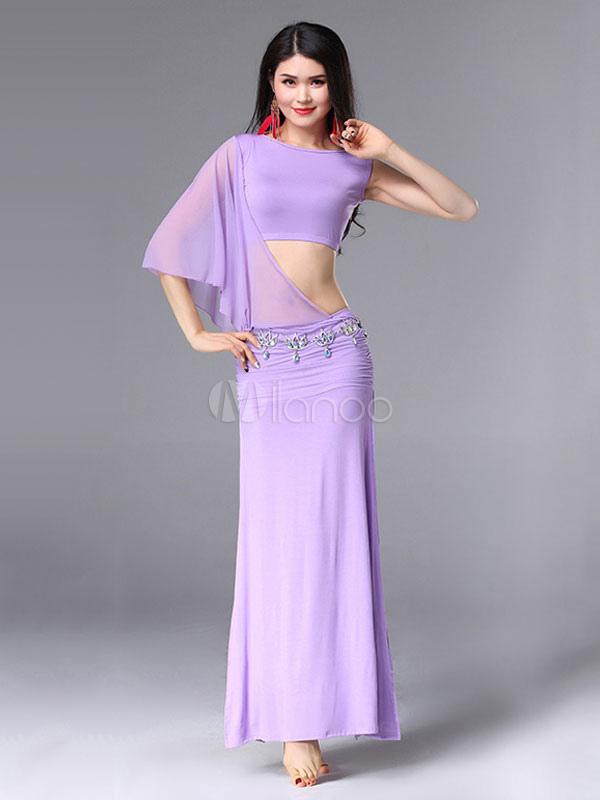 Trajes de danza del vientre Vestidos de mujer Lila Sexy Split Ropa ...