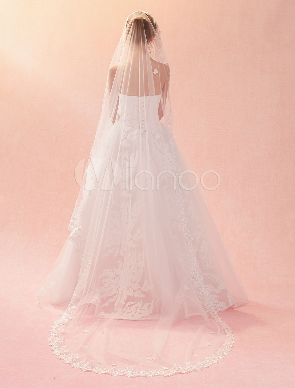 32d9cabe8e Wedding Veil Cathedral Waterfall Lace Applique Edge Tulle One Tier Long  Bridal Veils-No. 12. 30%OFF. Color Ivory