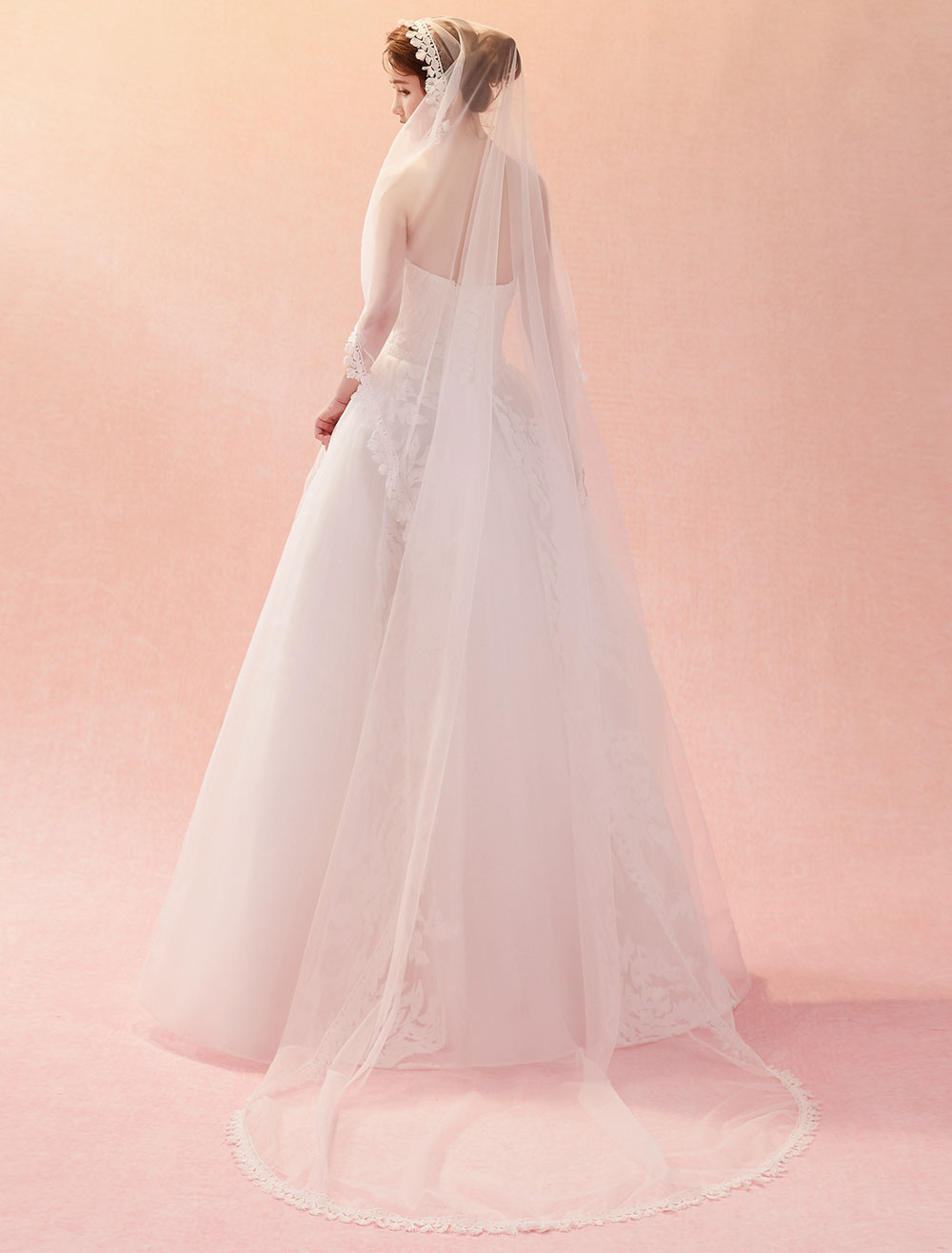 Buy Wedding Veil Cathedral Waterfall Lace Applique Tassels Tulle One Tier Long Bridal Veils for $17.99 in Milanoo store