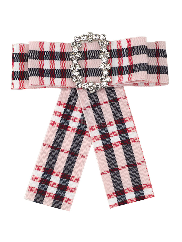 Bow Tie Women Plaid Beaded Brooch Costume Accessories