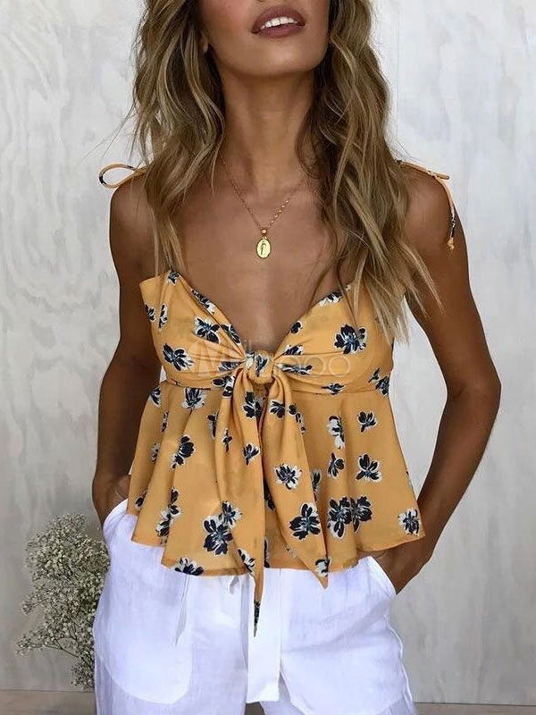 Women Floral Camis Straps Knotted Stretch Yellow Summer Top