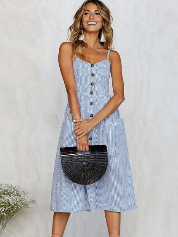 Women Summer Dress Straps Striped Front Button Slip Dress