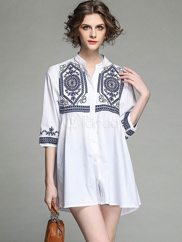 Buy White Shift Dress Half Sleeve Embroidered Boho Summer Dress for $35.99 in Milanoo store