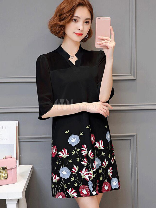 Buy Chiffon Shift Dress Half Sleeve Embroidered Notched Neck Summer Dress for $26.99 in Milanoo store
