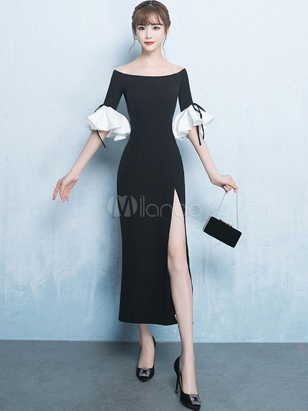 Buy Black Long Dress Maxi Semi Formal Dress Off The Shoulder Flared Sleeve Split Bardot Dress for $31.49 in Milanoo store
