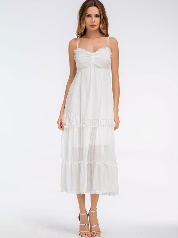 huge discount 09f90 86984 Vestito lungo bianco da donna con vestitino estivo in chiffon e volant