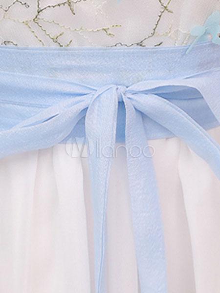 7e4dde15fe ... Vestido de verano de estilo chino de gasa bordada de media manga larga  vestido blanco-