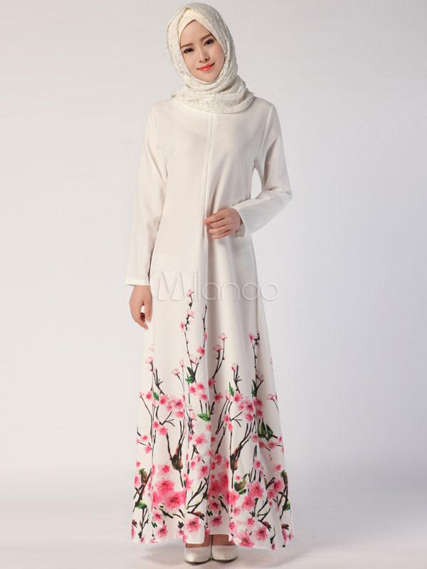 Frauen Abaya Kleid Weiß Lange Ärmel Printed Muslim Kaftan Kleid ...