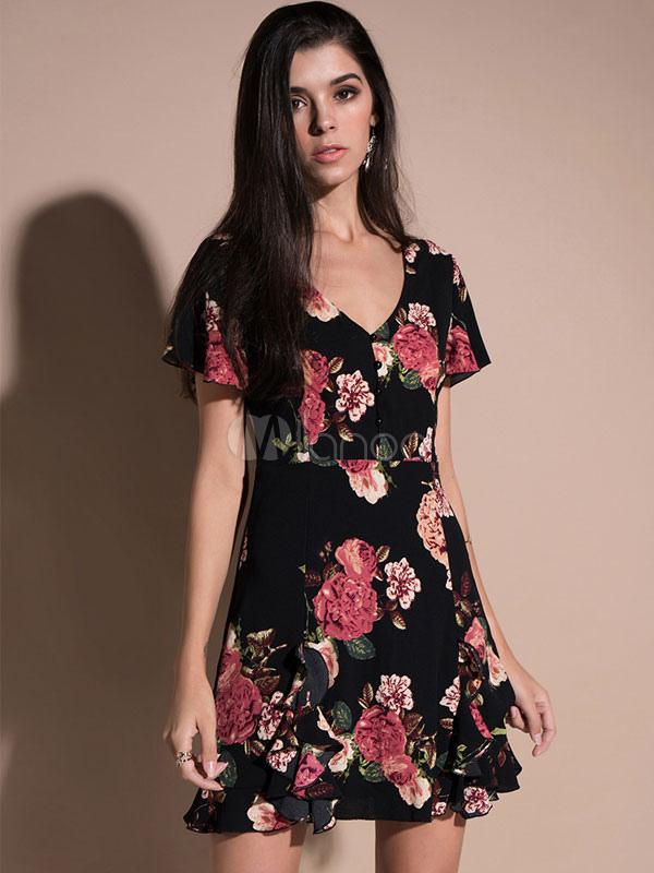 e2bccbb889f1 Pequeño vestido negro de manga corta con cuello en V vestido de gasa  estampado floral mujeres Mini vestido