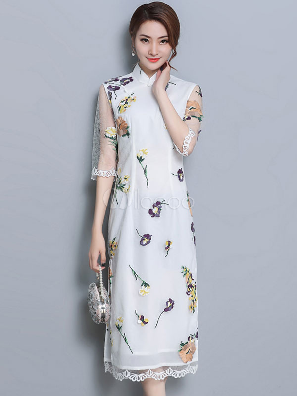 a9098d6de776 White Shift Dress Half Sleeve Lace Embroidered Stand Collar Chinese Style Summer  Dress-No.