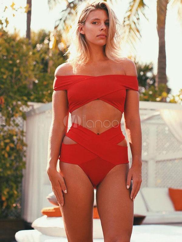 Two Piece Bathing Suit Off The Shoulder High Waist Cut Out Bardot Bikini Swimsuit