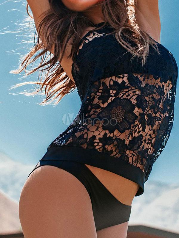 Two Piece Swimsuit Black Halter Lace Cut Out Women Swimwear