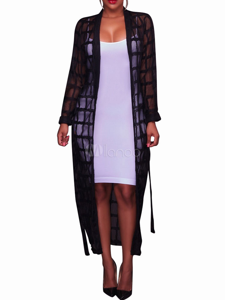 90c698610390f Women Kimono Dress Long Sleeve Tulle Plaid Sheer Cover Up - Milanoo.com