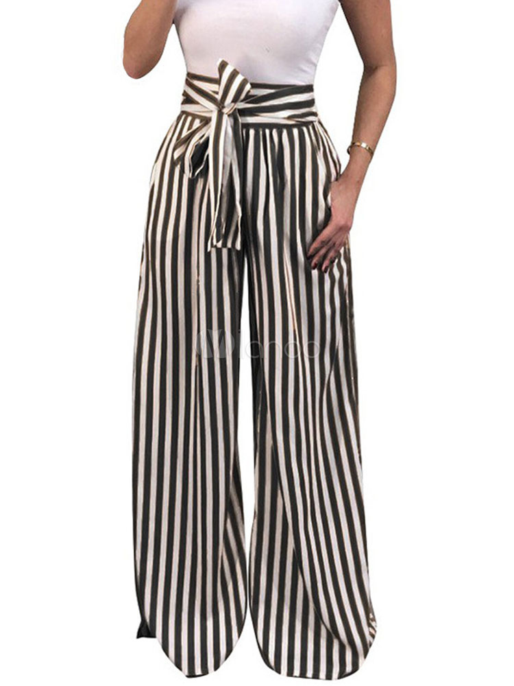 Buy Women Summer Pants Striped Drawstring High Waist Long Wide Leg Pants for $26.09 in Milanoo store