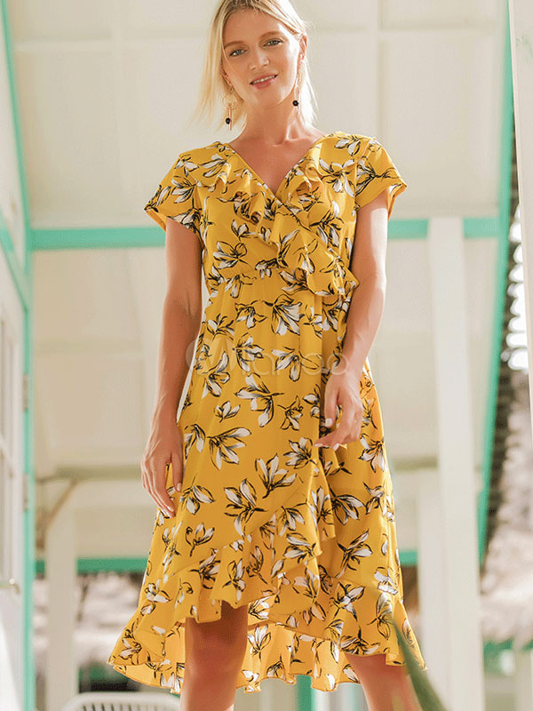 f5f0018e314e Floral Summer Dress Women Tea Dress V Neck Short Sleeve Ruffles High Low  Chiffon Yellow Midi ...