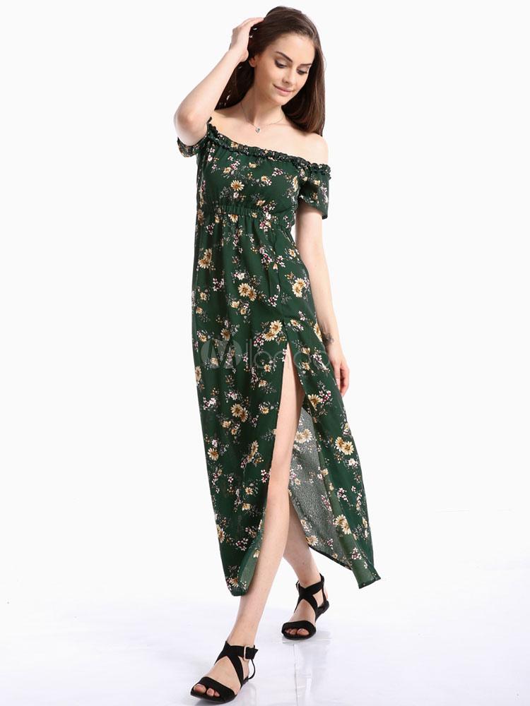 d9a6b08b0865 Floral Bardot Dress Off The Shoulder Ruffles Short Sleeve Split Green  Chiffon Summer Dress-No ...