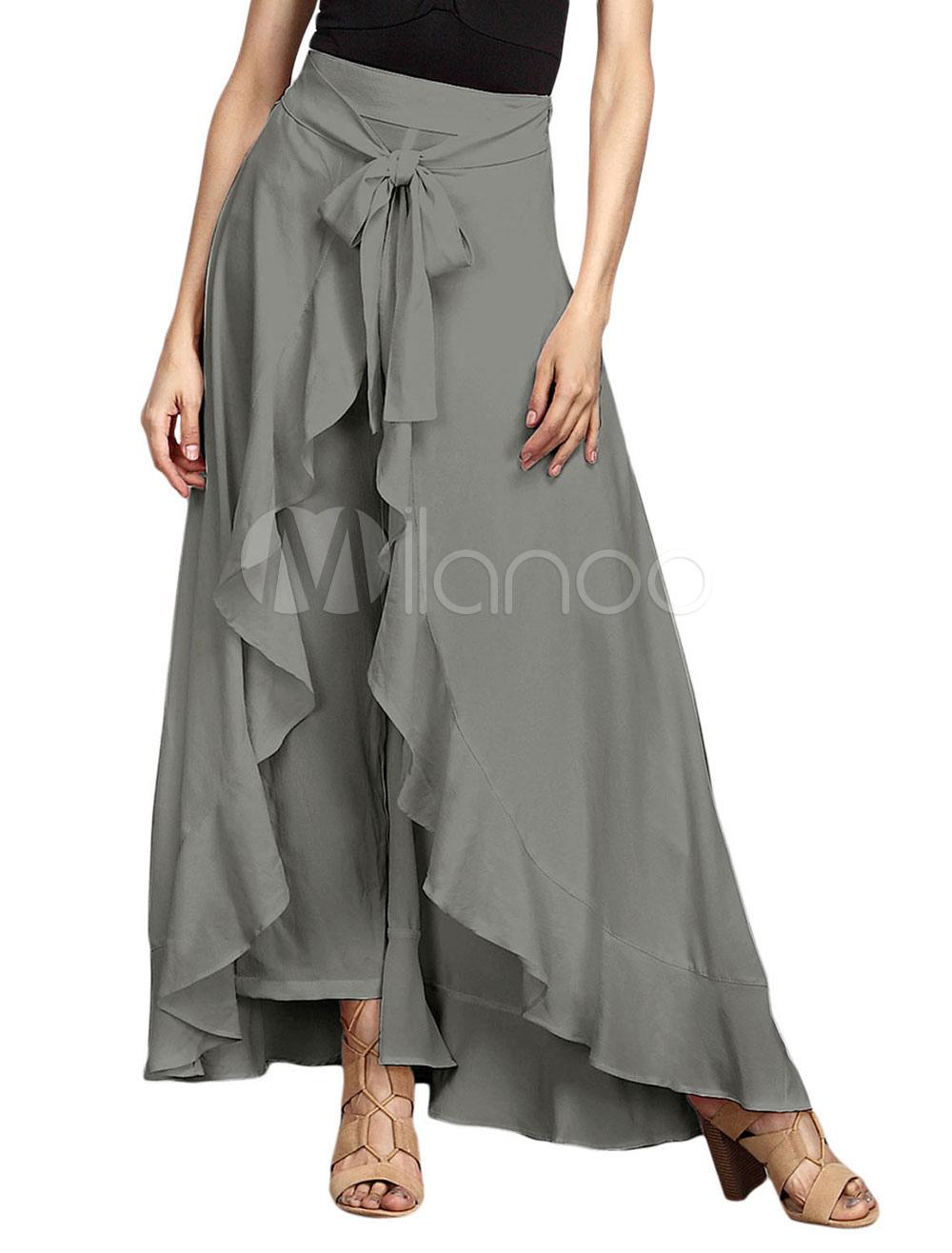 Women Summer Skirt Ruffles Chiffon Long Skirt