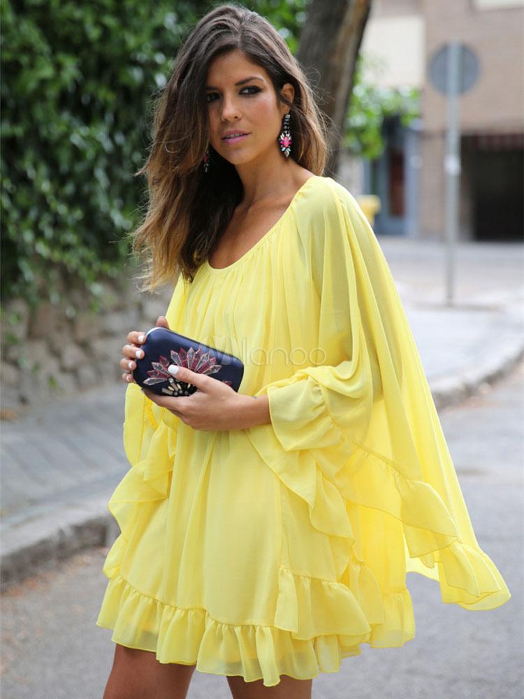 Chiffon Summer Dress Long Sleeve Ruffles Solid Color Poncho Dress