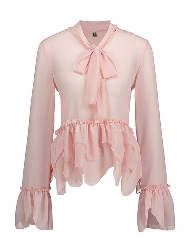 Women Chiffon Blouses Long Sleeve Ruffles Layered Soft Pink Top
