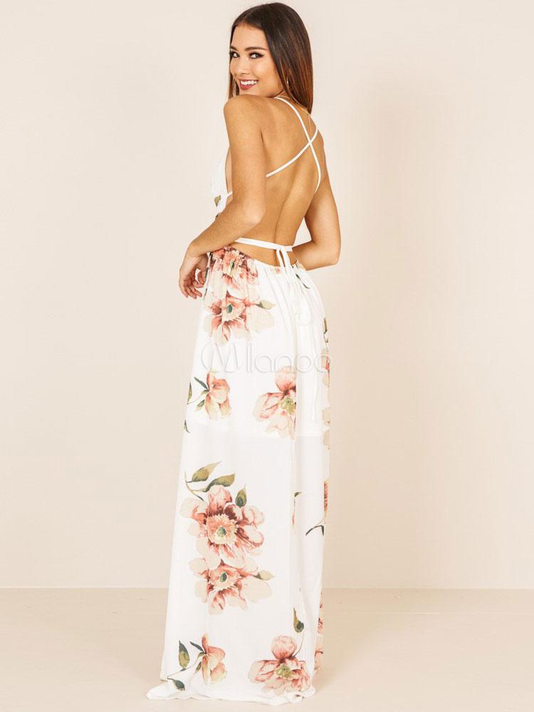 8a3ce3125 ... Vestido floral blanco con cuello en V Escote en V Strappy Split  Backless Vestido largo de