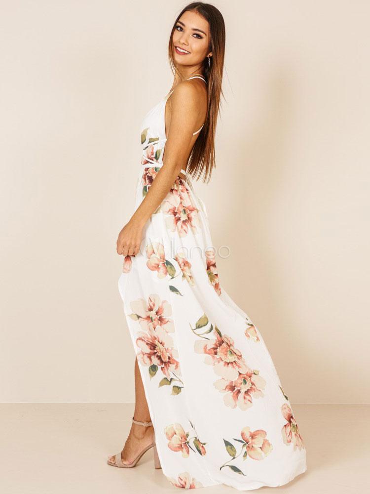 98d7cc453 ... Vestido floral blanco con cuello en V Escote en V Strappy Split  Backless Vestido largo de ...