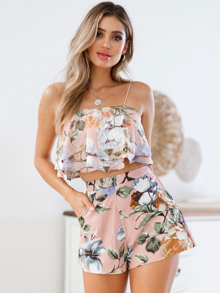 Women Two Piece Set Floral Print Straps Cami Top With Summer Shorts