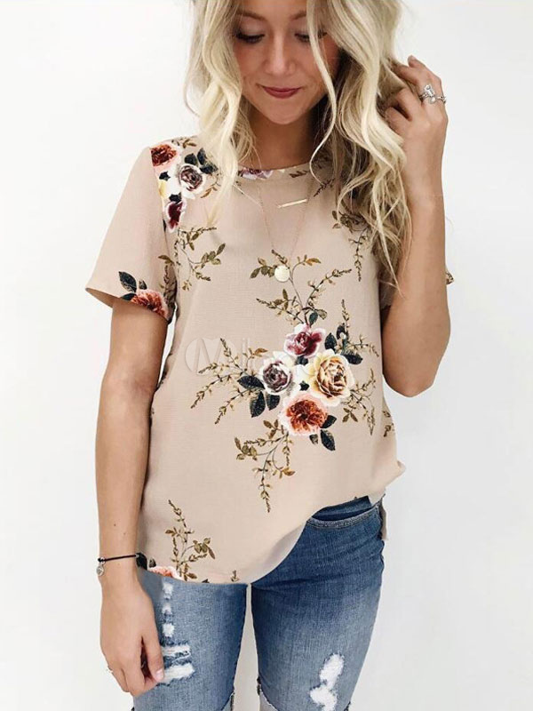 Women Floral Blouses Short Sleeve Round Neck Casual Summer Top