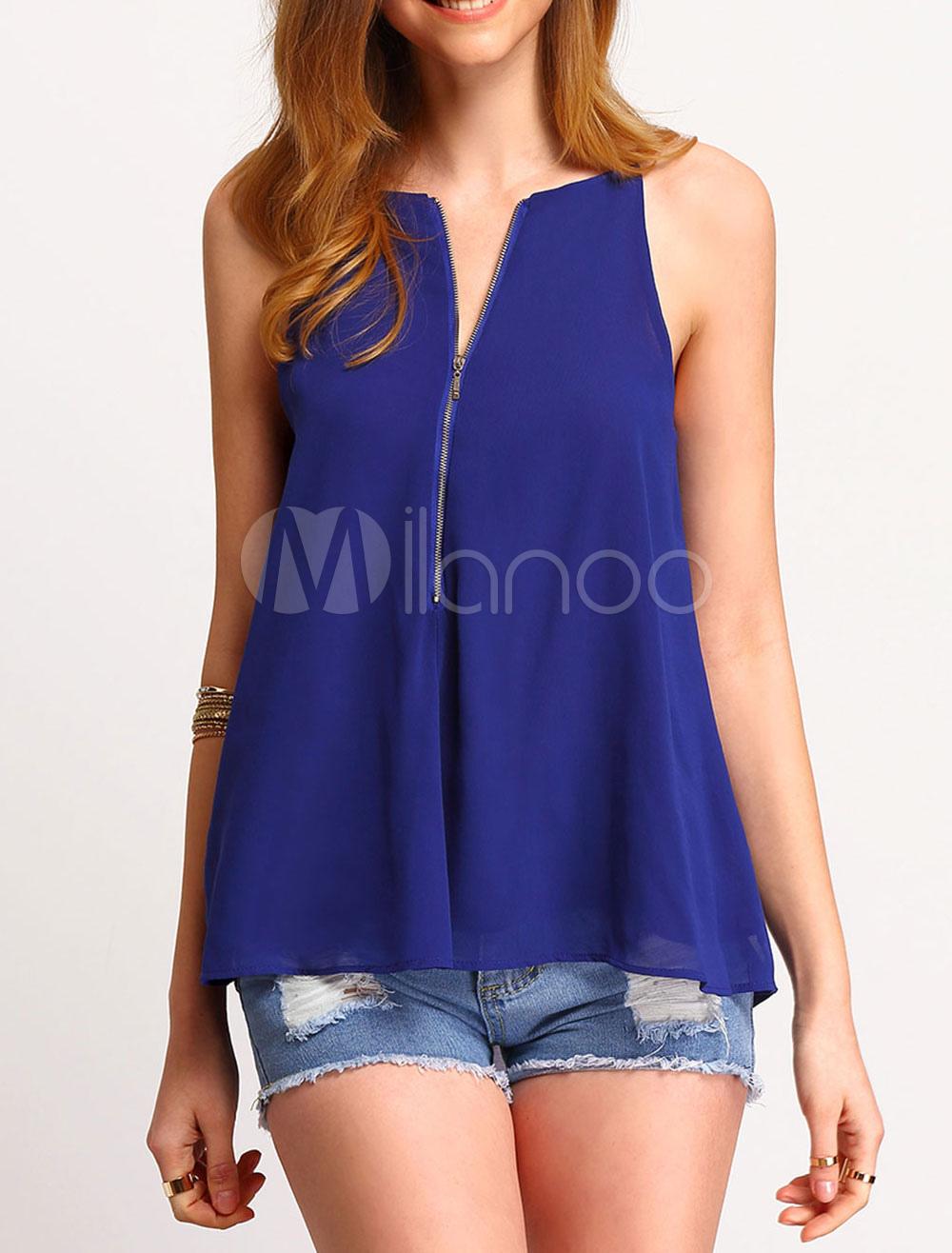 Women Chiffon Camis Front Zip Solid Color Summer Top