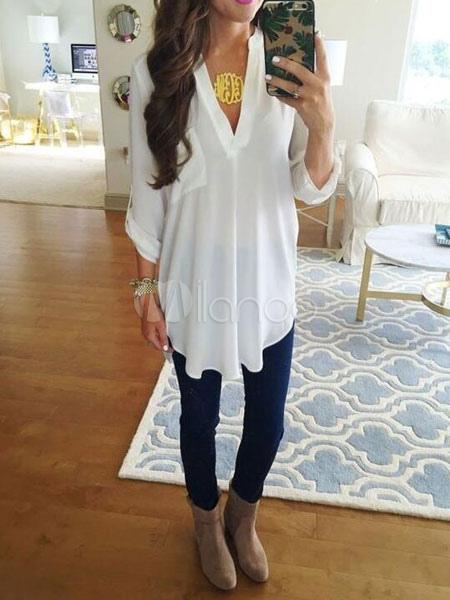 Women White Blouses Long Sleeve V Neck Pockets Chiffon Top