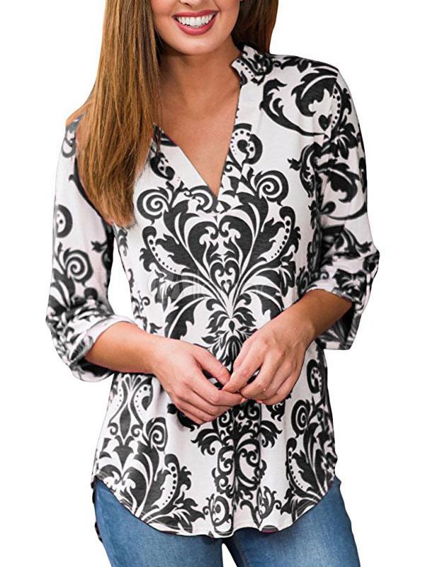 Women Chiffon Blouses V Neck Printed Three Quarter Sleeve Summer Top