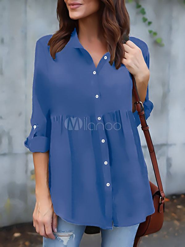 Women Chiffon Blouses Long Sleeve Turndown Collar Solid Color Casual Top